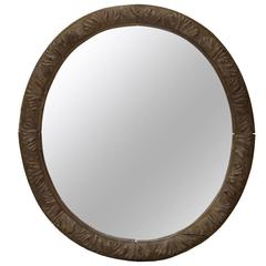 Large Oval Carved Oak Mirror, France, circa 1850