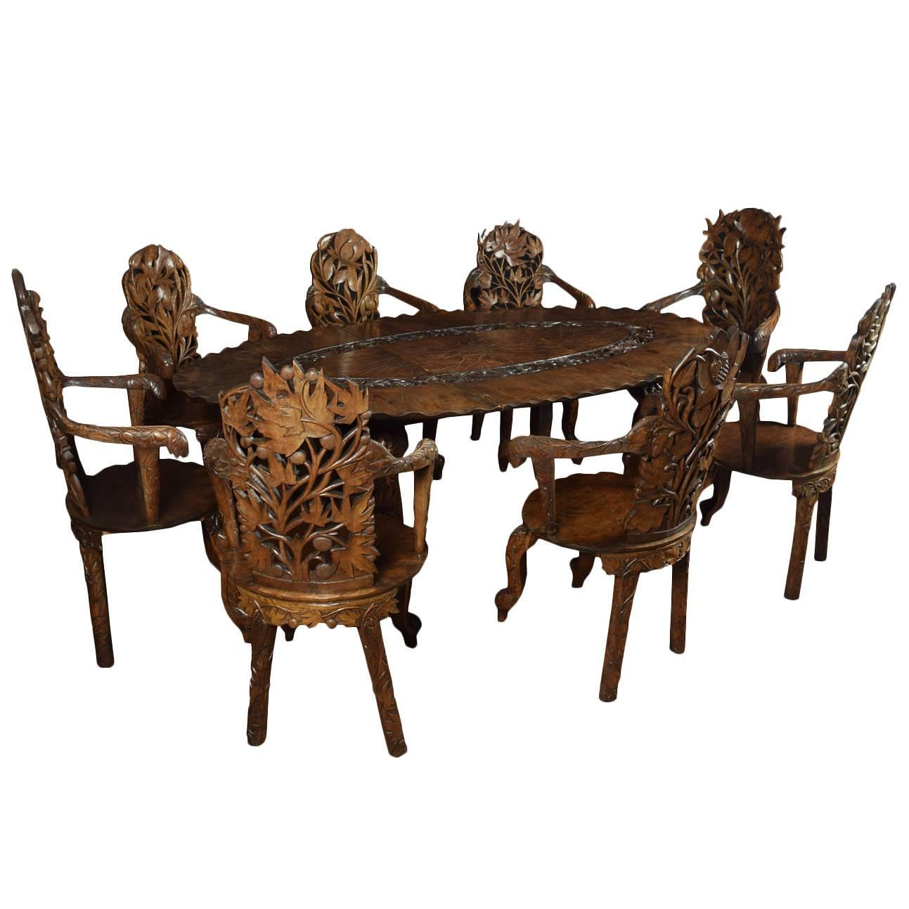 Early 20th Century Black Forest Style Table And Chairs For