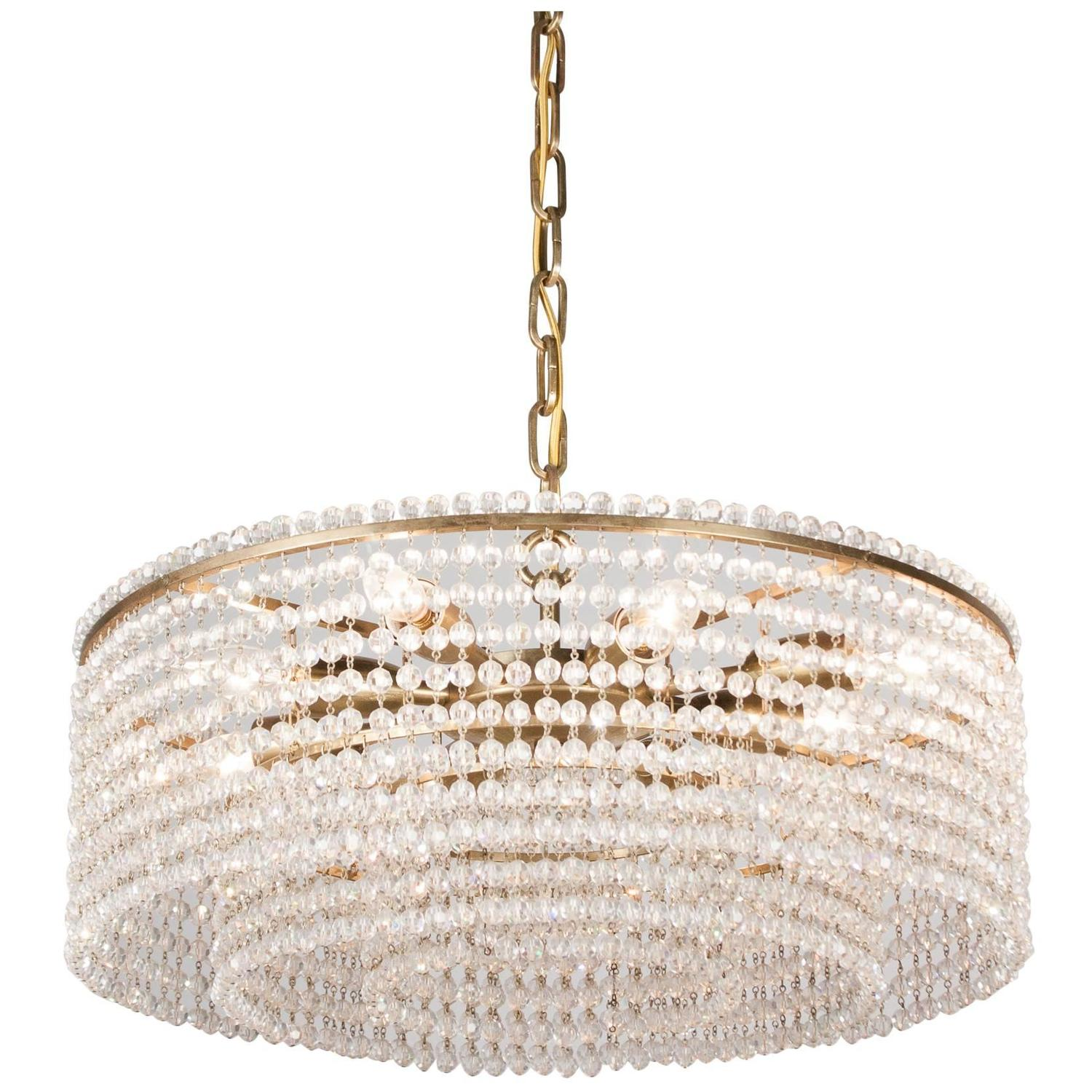 Faceted Crystal Bead Tiered Chandelier Austrian 1950s