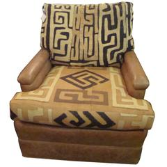 Kuba Cloth and Leather Chair