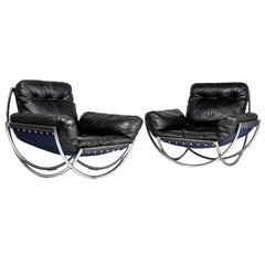 """Pair of Leather and Chrome Armchairs """"Wibro"""" by Lennart Bender, 1968"""