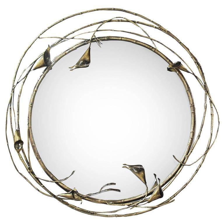 Large floral vine european modern stella antique brass for Large round mirrors for sale
