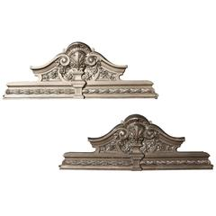 Pair of Victorian Cast Iron Overdoor Pediments