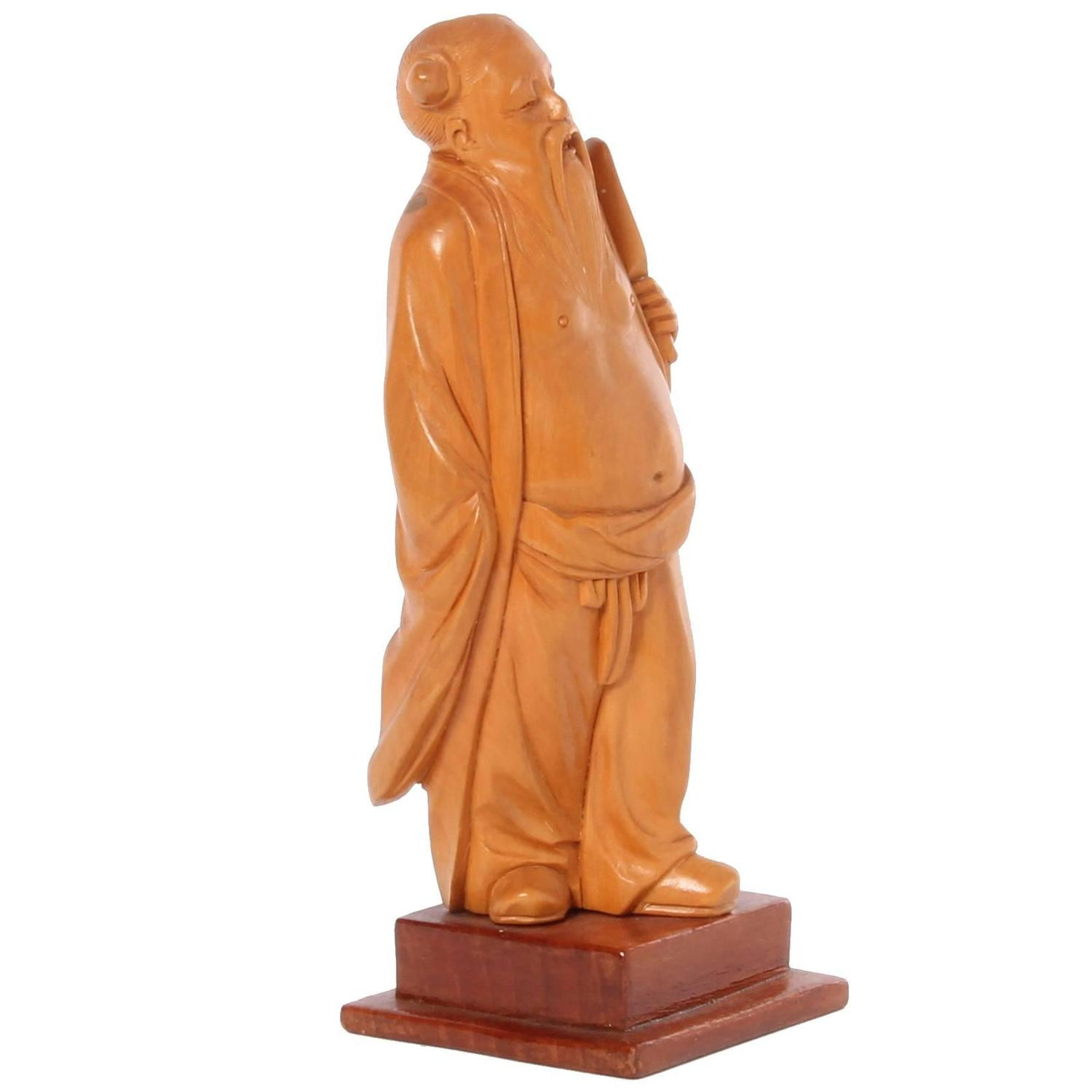 Lovely chinese carved boxwood sculpture of a man circa