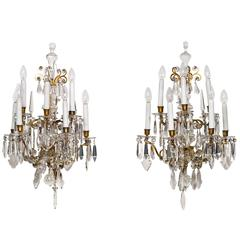 Pair of Ormolu-Mounted Crystal Glass Wall Lights
