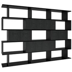 In and Out Bookshelf in Leather, Lacquer and Iron by Cristina Jorge de Carvalho