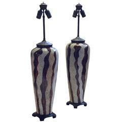 Rare Jean Dunand Art Deco Lacquer Lamps