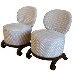 Early 20th Century, Pair of French Art Deco Fauteuils Stools, Mahagony