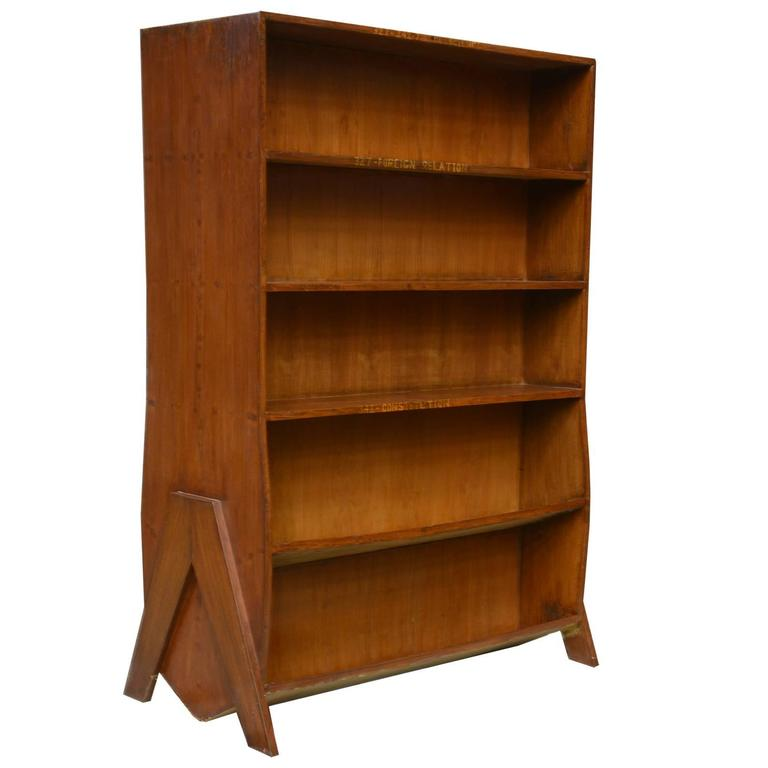 Pierre Jeanneret Double Sided Bookcase For Sale