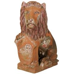 British Colonial Terracotta Lion with Shield of Medium Size with Beautiful Aging