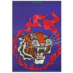 1970s Polish Cyrk Circus Poster Tiger Flame Design Art