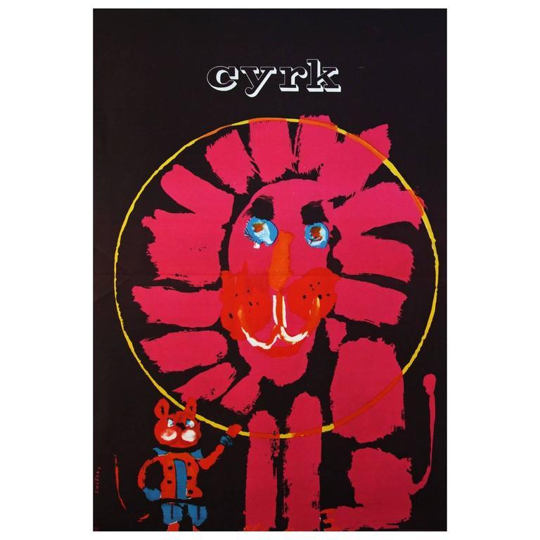 1960s Polish Cyrk Circus Pink Lion Poster