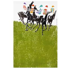 1960s British Horse Racing Travel Poster Jockeys Horse Design