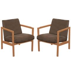 Pair of Open Arm Lounge Chairs in Mahogany by Edward Wormley
