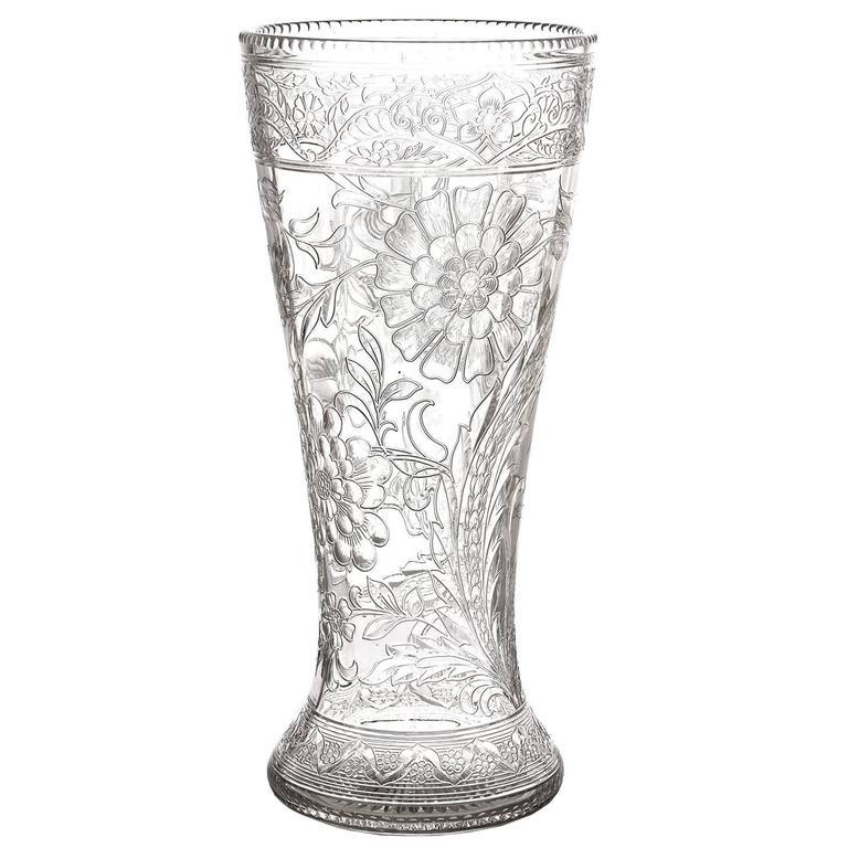 Spectacular Thomas Webb Art Nouveau Rock Crystal Vase For Sale
