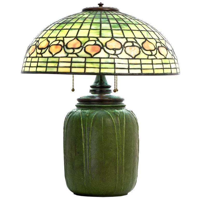 Signed Tiffany Studios Leaded Glass Acorn Lamp with Grueby Base