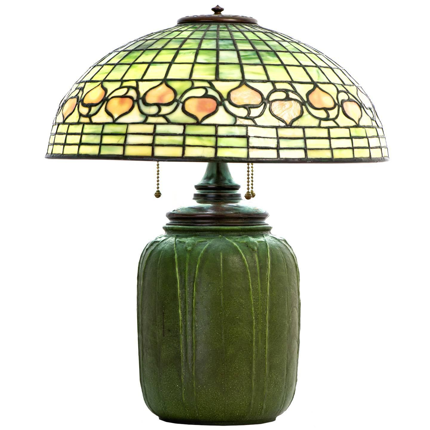 Elegant Signed Tiffany Studios Leaded Glass Acorn Lamp With Grueby Base
