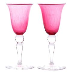 Set of 12 Steuben Ruby Wine Goblets
