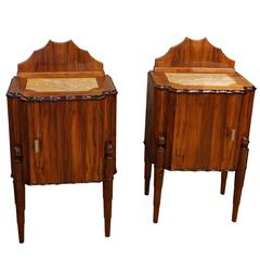 20th Century Pair of French Art Deco Night Chests in Rosewood