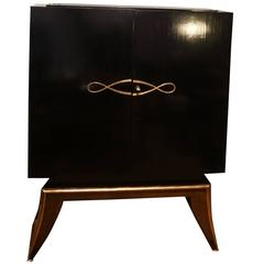 20th Century French Art Deco two Door Dry Bar Cabinet in Ebony Wood