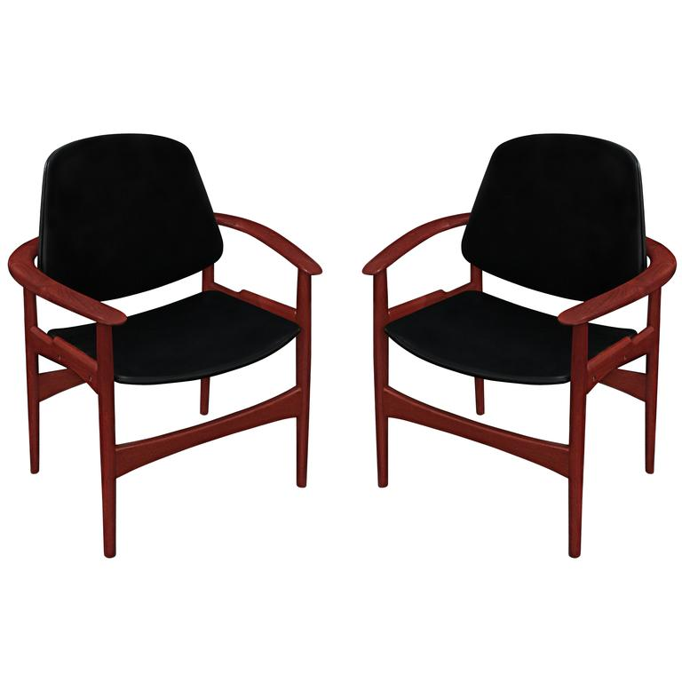Pair of Armchairs in Teak by Arne Hovmand Olsen for Jutex For Sale