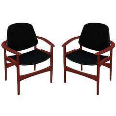 Pair of Armchairs in Teak by Arne Hovmand Olsen for Jutex