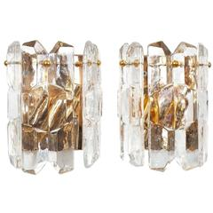 Beautiful J.T. Kalmar Palazzo Gilt Brass & Glass Sconces