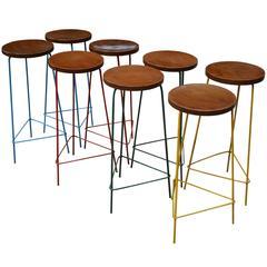 Pierre Jeanneret Unique Set of Eight Hight Stools