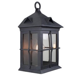 Craftsman Coastal Exterior Wrought Iron Flush Wall Mount Lantern, Grey