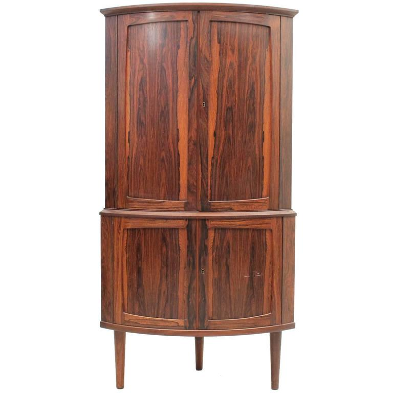 Rosewood Corner Cabinet With Two Storage Sections, Danish, Mid Century  Modern 1