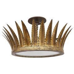 Vintage Gilded Crown Flush Mount Light