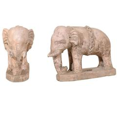 Pair of Eclectic 20th Century British Colonial Terracotta Elephants in Pale Pink