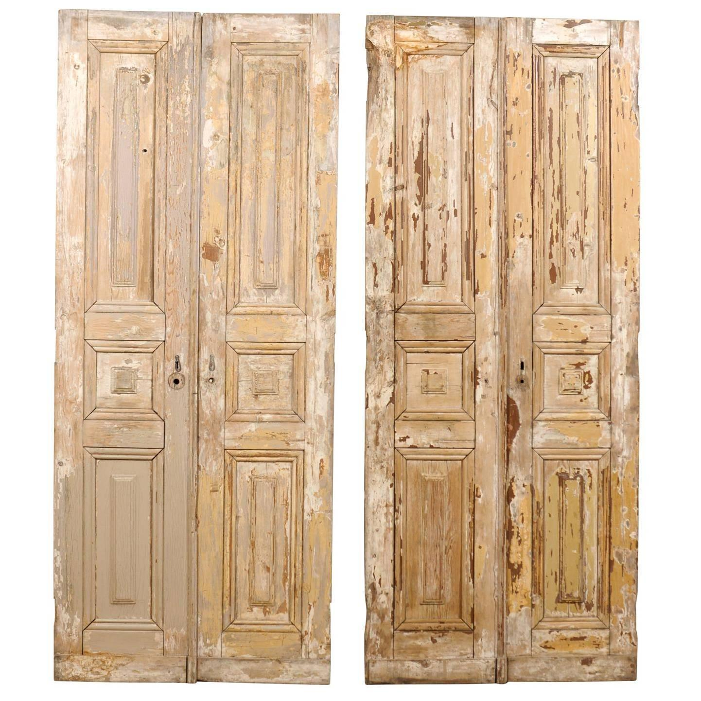 Two Pairs Of French 19th Century Wooden Doors For Sale At