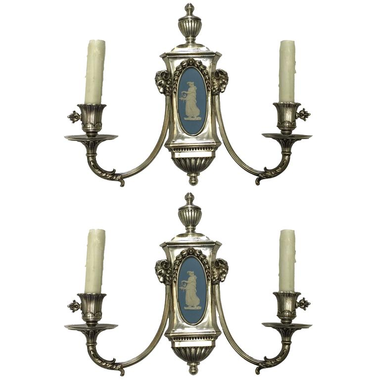 Caldwell Wedgwood Jasperware and Silver Plated Bronze Sconces 1