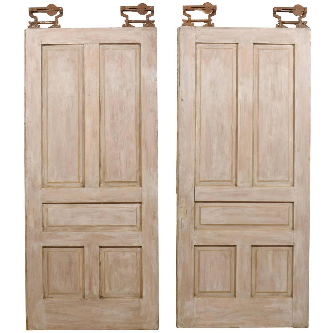 Pair of Early 20th C. Painted Wood 5-Panel Pocket Doors, with Original Hardware