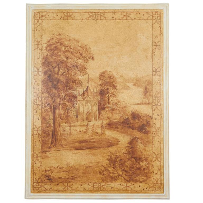 Set of Six Sepia-Toned Decorative Panels after Rex Whistler For Sale