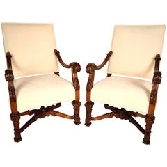 Pair of 19th Century French Carved Wood Chairs