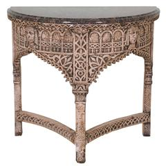 Gothic Style Demilune Console Table