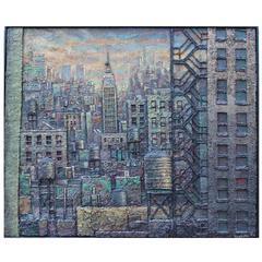 Daniel Hauben Painting NYC Skyline Empire State Bldg. Trade Center