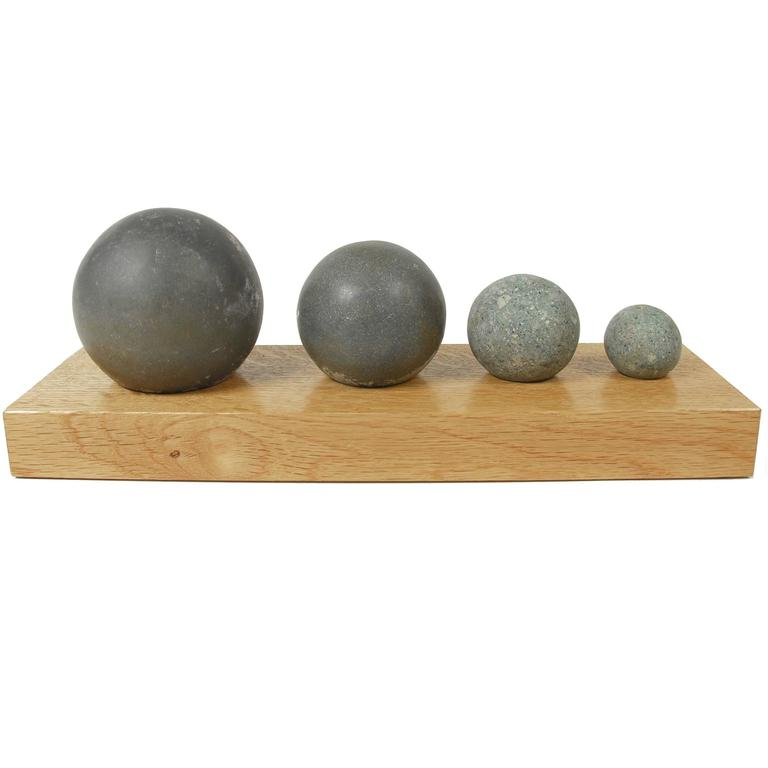 Prehistoric Hand Hewn Stone Balls Taino COSTA Rica & Vicinity Set of Four