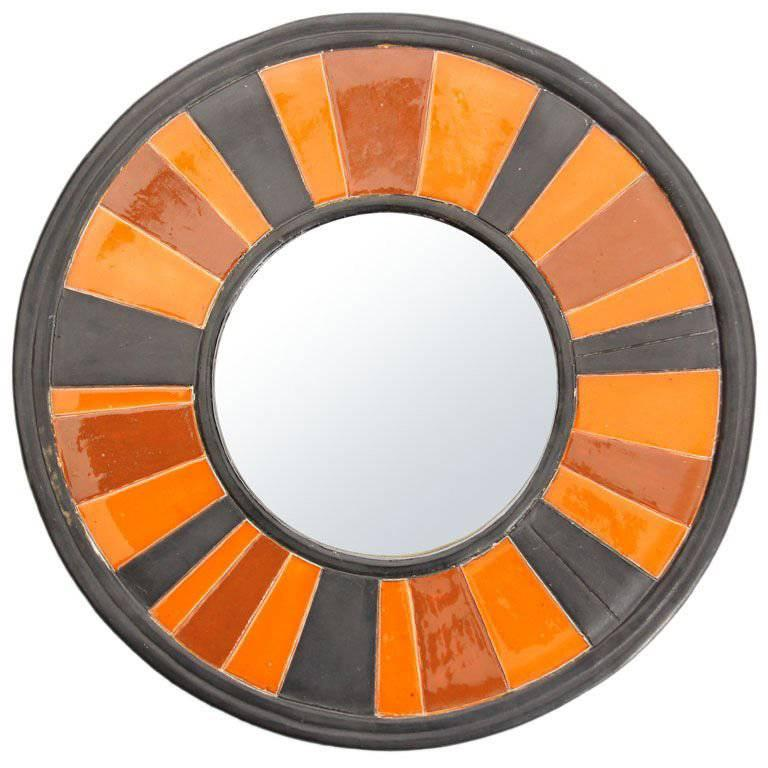 Ceramic Framed Mirror For Sale