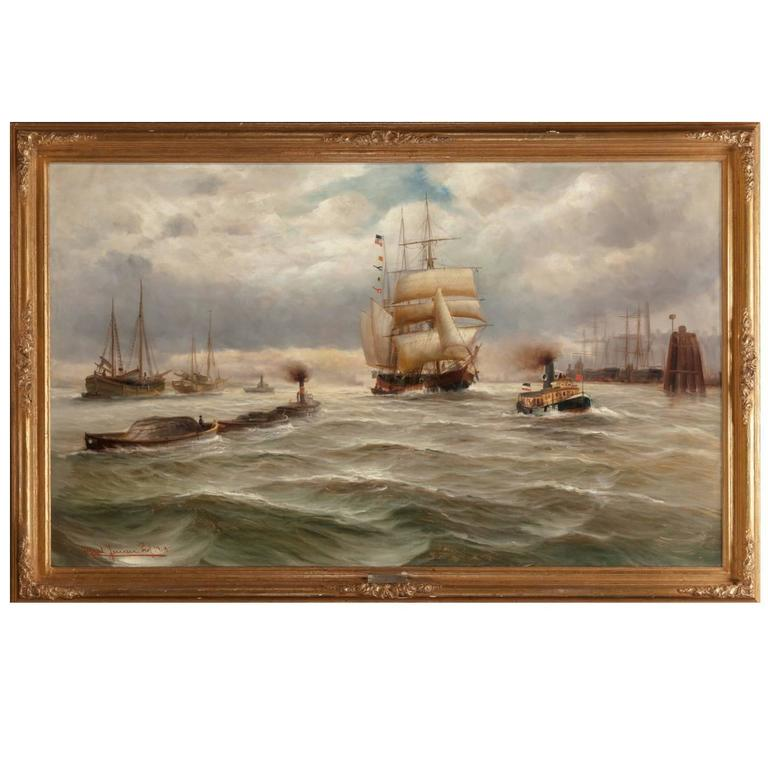 Painting by Alfred Jensen, French Harbor, 1918