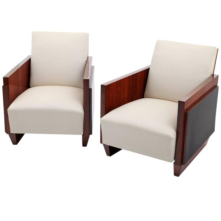 Art deco lounge chairs in the style of sornay france for Art deco style lounge