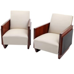 Art Deco Lounge Chairs in the Style of Sornay, France, 1940s