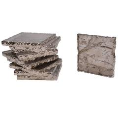 Group of Smoky Brown Rock Crystal Quartz Coasters