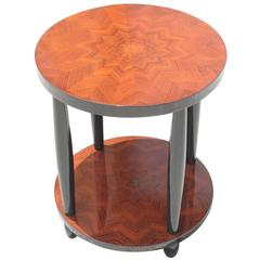"""French Art Deco Two-Tier Palisander Inlay """"Starburst"""" Accent Table, circa 1940s"""