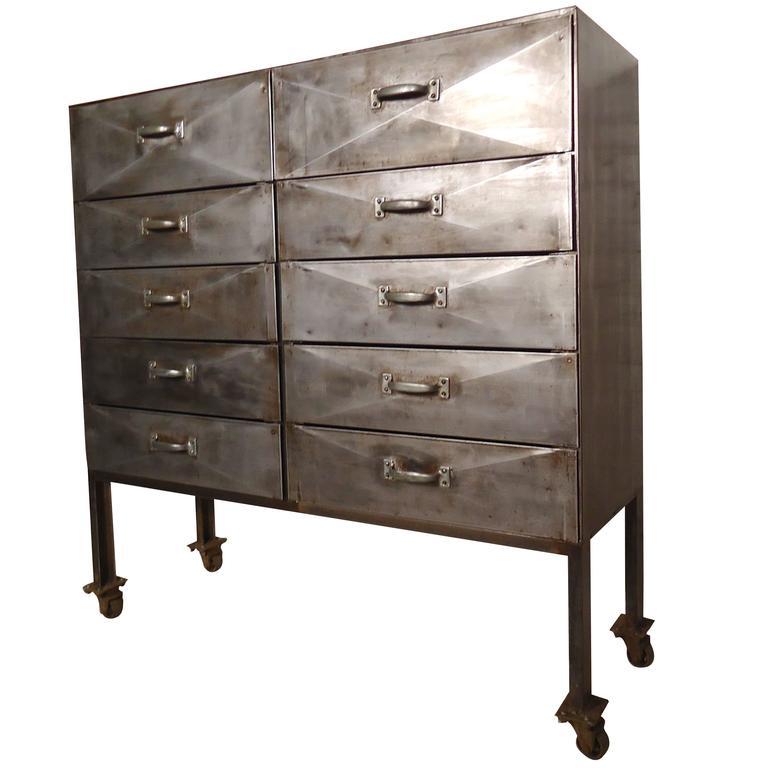 Unique Industrial Ten-Drawer Metal Cabinet