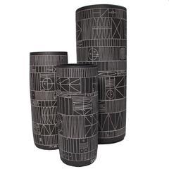 Trio of Incised Black Ceramic Cylinder Vases by Heather Rosenman