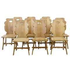 Set of Ten 1920s Swedish Oak Dining Chairs