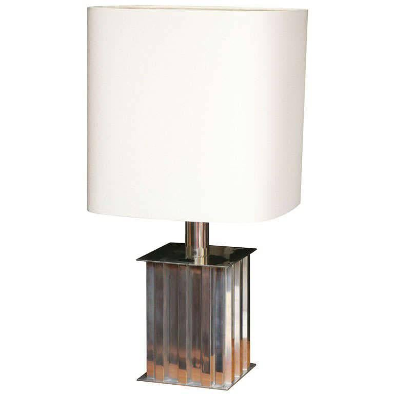 Brazilian Modernist Dominici Polished Aluminum Table Lamp For Sale